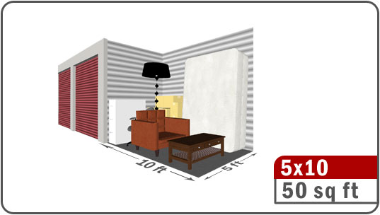 Uncle bill 39 s self storage of bloomington normal 5x10 for 10 x 8 room in square feet
